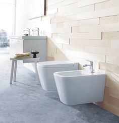 Wall-hung WCs will make a small space look bigger. The Max 2 collection by Burgbad includes a WC with soft-close seat and dirt-repellent finish, £734, while the bidet is £566.
