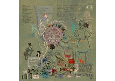 Tilleke Schwartz's two works are like embroidery sketchbooks, with motifs, words and images overlapping and interplaying on hand dyed fabric Embroidery Techniques, Embroidery Stitches, Embroidery Designs, Embroidery Art, Art Textile, Textile Artists, Textiles, Fibre And Fabric, Collage