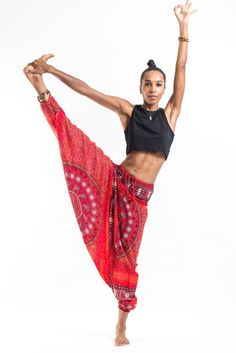 Tribal Chakras Jumpsuit Harem Pants in Red