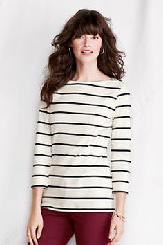 Women's Petite 3/4-sleeve Stripe 1x1 Snap Boatneck from Lands' End