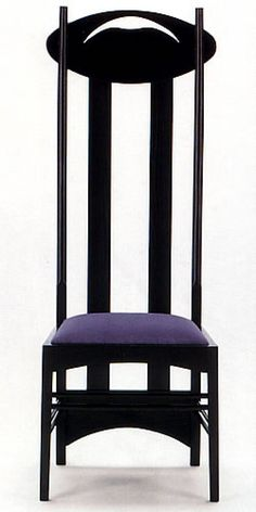 Charles Rennie Mackintosh Argyle Chair    This chair was created with a leitmotif of the 'work of Mackintosh: a high back, here marked by a panel oval with stylized decoration motifs déco.La chair was created for the Argyle Street tea rooms, where thanks to its size had the function of dividing the space