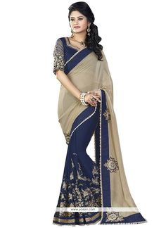 Pretty Faux Georgette Navy Blue Embroidered Work Half N Half  Saree Model: YOSAR11132