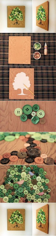 DIY Button Craft: DIY Button Tree Panel