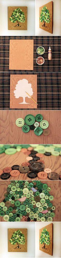 DIY Button Craft: DIY Button Tree Panel