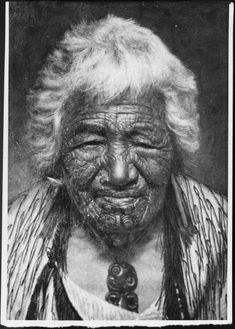 Photograph of a portrait of the chieftainess Kapikapi who survived the Tarawera eruption (one of Goldie's titiles), and who was a chieftainess of Rotorua (according to an Evening Post caption). Polynesian People, Polynesian Art, Maori Face Tattoo, Once Were Warriors, Maori Tribe, Maori People, Maori Tattoo Designs, Maori Art, Tattoos Gallery
