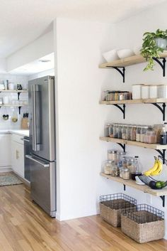 Optimizing a kitchen corner will be a big help to save more space and make your kitchen becomes neat. Check these kitchen corner ideas out! Kitchen Wall Storage, Small Kitchen Organization, Organized Kitchen, Kitchens With Open Shelving, Open Shelving In Kitchen, Fridge Storage, Bathroom Storage, Ikea Kitchen Shelves, Kitchen Shelf Unit