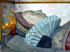Detail of the effigy of Lettice Knollys. From the joint tomb of Robert Dudley and Lettice Knollys, Collegiate Church of St Mary, Warwick, UK.