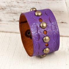 Handmade Leather Cuff Wristband by rainwheel. Available at http://www.rainwheel.etsy.com $30 #handmade #Bohemian #Vintage #Retro #Leather #Cuff