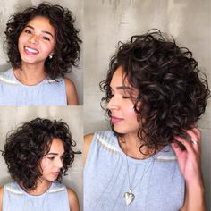 Luxurious Angled Curly Bob / The triangular wedge shape of this angled curly bob frames the face with touchable curls and adds nice height to the crown section. hairstyles bob 65 Different Versions of Curly Bob Hairstyle 3a Curly Hair, Curly Hair Styles, Bob Haircut Curly, Curly Hair With Bangs, Wavy Bob Hairstyles, Haircuts For Curly Hair, Naturally Curly Haircuts, Short Curly Hairstyles, Wedding Hairstyles