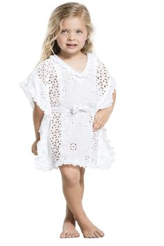 Agua Bendita Natural Highend Kids Tunic.Agua Bendita's natural tunic will have your girl glowing like an angel. The white fabric of the Kids Highend Tunic is beautifully embroidered. #aguabenditakids