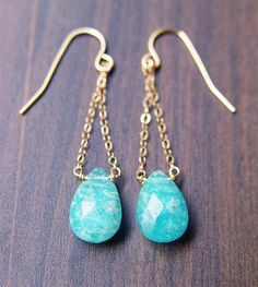 Teal Amazonite Chain Earrings 14k Gold by friedasophie on Etsy, $49.00