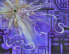 """Purple Techno Burst""- Acrylic & Mixed Media on Canvas- approx. 8 x 2004 Mixed Media Canvas, Techno, City Photo, Arts And Crafts, My Arts, Purple, Gift Crafts, Art And Craft, Techno Music"