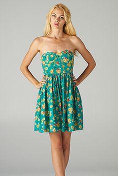 Women's Dress | Strapless Floral Print Sweetheart Skater Dress