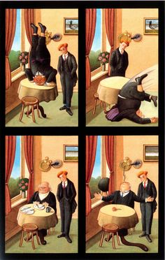 Anthony Browne: how I re-imagined Alice in Wonderland. For this illustration I made reference to the painting Man with Newspaper by Rene Magritte. He divided the canvas into four rectangles and painted the room four times, showing a man reading the newspaper in only one of the scenes, thereby transforming an extremely boring image into a provocative and profoundly disturbing one. Alice's Adventures in Wonderland is the story of a dream and the book was a great favourite of the Surrealists so…
