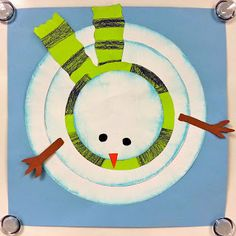 Bird's Eye View Snowmen art activity craft - Such a neat perspective! Could even tie it into a reading or writing lesson about different perspectives. Maybe the bird watched the kids make the snowman from his perch?