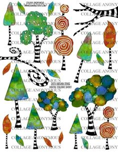 Zetti Trees  Digital Collage Sheet by CollageAnonymous on Etsy, $3.00