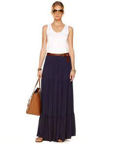 MICHAEL Michael Kors  Tiered Maxi Skirt, Women\'s Navy.