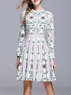Shop Midi Dresses - Multicolor Jacquard Long Sleeve Pleated Midi Dress online. Discover unique designers fashion at StyleWe.com.
