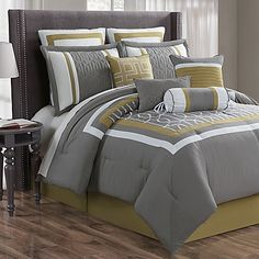 Bring a sophisticated look to your bedroom with the Morris Comforter Set. The elegant comforter, embroidered with warm, yellow and white patterns over a charcoal grey, will give your room a fresh new look. Bedroom Comforter Sets, Bedroom Bed, Home Decor Bedroom, Duvet Sets, Bed Linen Design, Bed Design, Designer Bed Sheets, Buy Bed, Beautiful Bedrooms