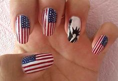 July 4th nails - Statue of Liberty
