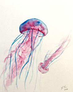 Original Jellyfish Watercolor Painting, 8x10, Jellyfish Art, Jellyfish Painting, Nursery Art Ocean, Watercolor Jellyfish by ColorOfChlorophyll on Etsy
