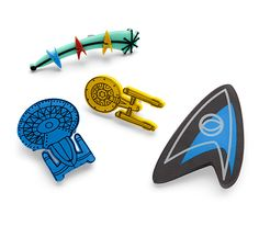 Part of the ThinkGeek Star Trek Collection by Her Universe, these pins look equally at home putting the finishing touch on that fabulous scarf or hanging out with all your con badges on the strap of your laptop bag.