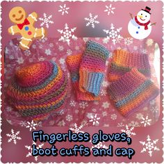 Wonderful colors for this crochet handmade set...  Stay warm this winter!