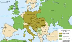 Political Map- Britain, France and Russia were in the Triple Entente. Germany, Austria-Hungary and Italy were in the Triple Alliance.