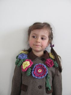 Princess Crochet Flower Collar, Neckwarmer, Flower Scarf - Baby, Toddlers, Child