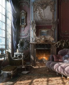 Stunning living room, love the details on the walls and the mirror, high ceilings just feel so luxurious. Velvet tufted sofa with many pillows, it looks so soft and cozy.