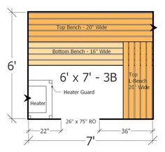 Sauna Layout with 3 Benches - Best Use of Space with this Home Sauna Plan Basement Sauna, Sauna Room, Sauna House, Basement Bathroom, Basement Ideas, Master Bathroom, Bathroom Ideas, Diy Sauna, Saunas