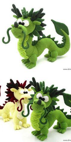 Crochet Dinosaur Patterns, Crochet Dragon Pattern, Crochet Amigurumi Free Patterns, Crochet Dolls, Knitting Patterns, Crochet Elephant Pattern Free, Cute Crochet, Crochet Crafts, Crochet Projects
