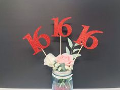 Excited to share this item from my #etsy shop: Birthday Centerpiece, 16th Anniversary, 16th Celebration, 16th Birthday,  Sweet Sixteen, Centerpiece Sticks Birthday Party Centerpieces, Birthday Decorations, Glitter Cardstock, 16th Birthday, Sweet Sixteen, Sticks, Party Supplies, Card Stock, Anniversary