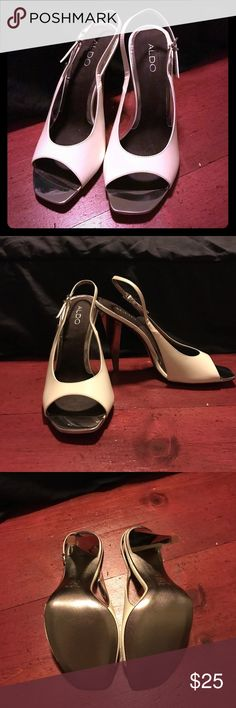 Aldo Heels Great condition, small mark on one side as seen in picture above! Metallic tip on the toe of the heels Aldo Shoes Heels