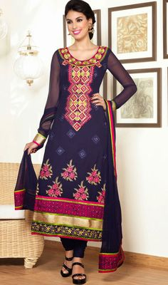 USD 86.57 Blue Embroidered Party Wear Churidar Suit 40488