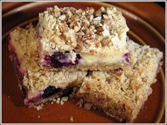 Today's recipe was inspired by The Leavening Agent who posted a great photo of a blueberry bar. She didn't include the recipe, so I checked a few bulletin boards and found the original version which was originally published in Fine Cooking Magazi