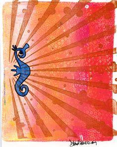 Seahorse gelli print and ghost -- Empress Dragon Arts