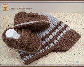 Crochet Baby, Toddler Boy Brim Hat and Shoes set, loafers, in Taupe and Silver Blue - 151
