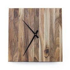 Drewniany zegar ścienny PICTOR, zegar nowoczesny, zegar z orzecha - Proliving