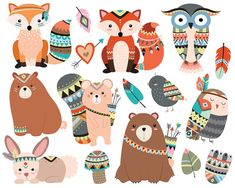 Woodland Tribal Animals Clipart  300 DPI by KennaSatoDesigns