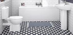 Black And White Bathroom Tiles Brisbane Black White Bathrooms, White Bathroom Tiles, Bathroom Floor Tiles, Modern Bathroom, Small Bathroom, Tile Floor, Bathroom Ideas, Budget Bathroom Remodel, Floor Patterns