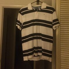 Young Men's Polo White/Navy Blue Stripe button polo Tommy Hilfiger Tops Tees - Short Sleeve