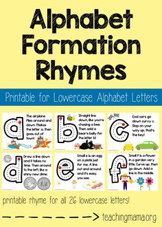 Alphabet Formation Rhymes Lowercase Alphabet Formation Rhymes - fun little rhymes to help children learn how to write lowercase letters!Lowercase Alphabet Formation Rhymes - fun little rhymes to help children learn how to write lowercase letters! Preschool Songs, Preschool Literacy, Preschool Letters, Letter Activities, Learning Activities, Sing The Alphabet, Teaching The Alphabet, Teaching Kids, Uppercase Alphabet