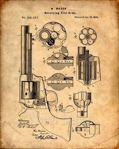 This is a print of the patent drawing for a Mason Revolver patent in The original patent has been cleaned up and enhanced to create an attractive display piece for your home or office. This is a…MoreMore Patent Drawing, Poster Prints, Art Prints, Posters, Guns And Ammo, Weapons Guns, Patent Prints, Chalkboard Art, Firearms