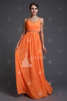 Brilliant A-Line/Princess Spaghetti Straps Sleeveless Floor-Length Beading Chiffon Dresses