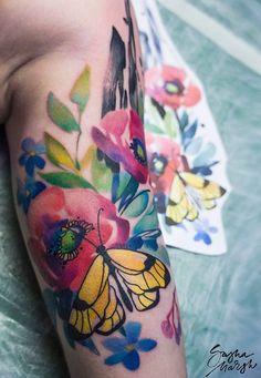 Sasha Marsh flower tattoo