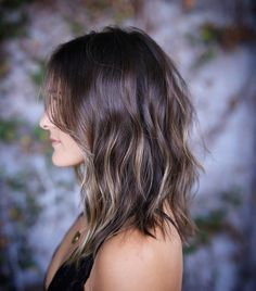 Dark-Ash-Brown Wavy Hair with Layers and Super-Subtle Golden-Blonde Balayage