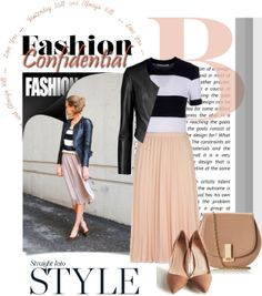 """""""Untitled #365"""" by pamwhite994 on Polyvore. Black leather jacket, black and white striped top, nude pleated midi skirt, nude pumps and bag."""