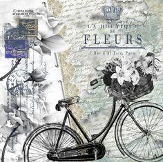 Láminas decoupage con bicicletas, flores, hadas, collages digitales by Nena Kosta Vintage Labels, Vintage Cards, Vintage Paper, Vintage Postcards, Vintage Pictures, Vintage Images, Art Pictures, Decoupage Vintage, Bicycle Art