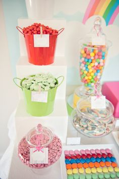 Rainbow Party, Sweets, Candy, Jars, Buckets, Lollie Table, Colourful, Kids Party, Cute